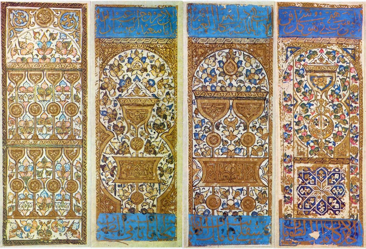 The origin of tarot cards has been traced back to 13th century Islam's Mamluk playing cards which were handpainted ornamental designs like seen in this image.