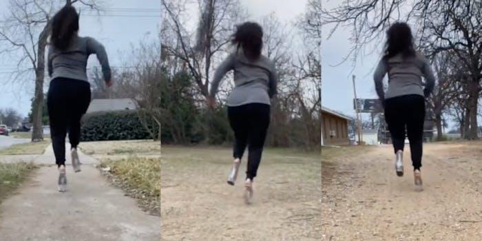 TikTok woman running in high heels