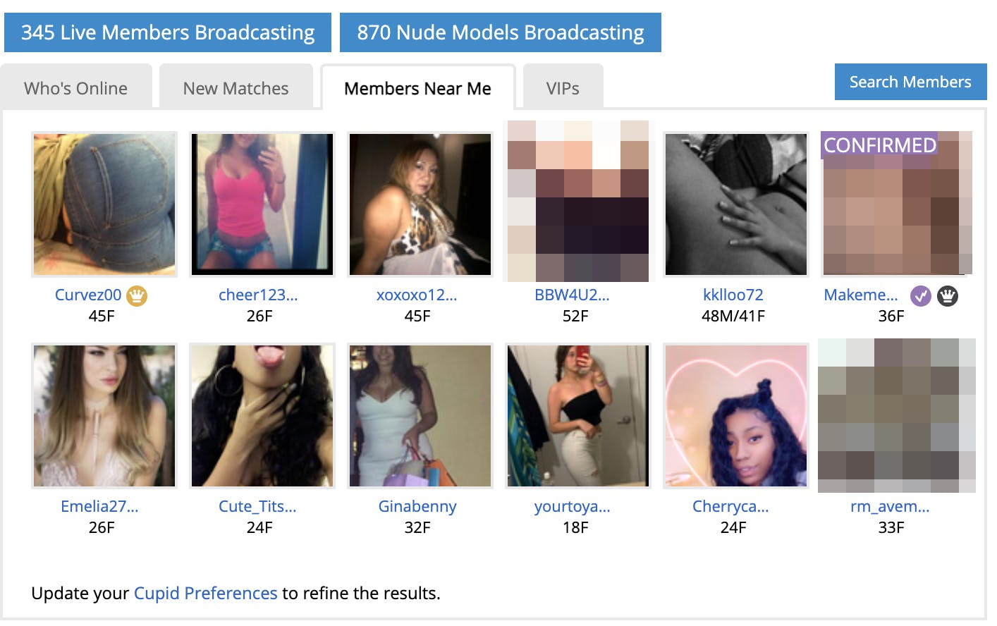 Screenshot of AdultFriendFinder's homepage featuring people online near me.