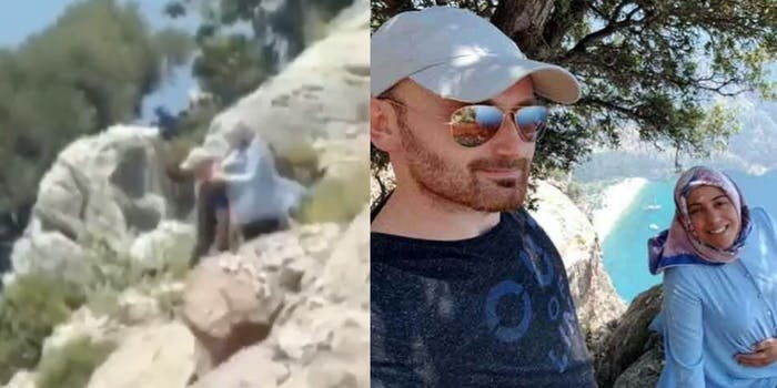 tourist video showing man and woman walking down cliff and selfie of man and woman on cliff