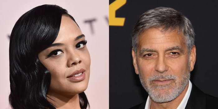 Juergen Teller photo shoot memes - Tessa Thompson and George Clooney