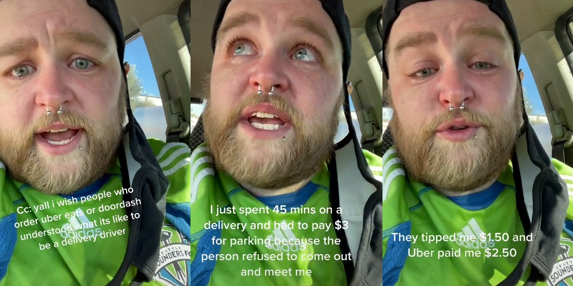 man in car in tears explaining uber pay and customer tips