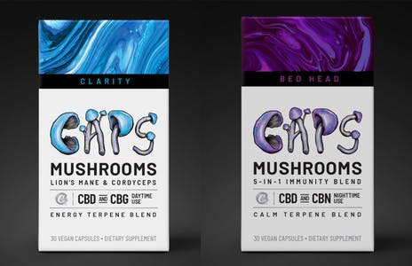 Clarity Caps and Bed Head Caps packaging look similar to cigarette boxes and use mushroom illustrations as font.