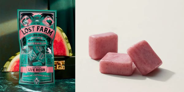 Kiva Confections' Lost Farm Watermelon Chews infused with THC.