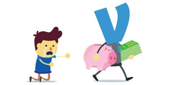 crying man on knees, reaching out toward man in suit with Venmo logo for a head, who is walking away with a piggy bank and stack of bills