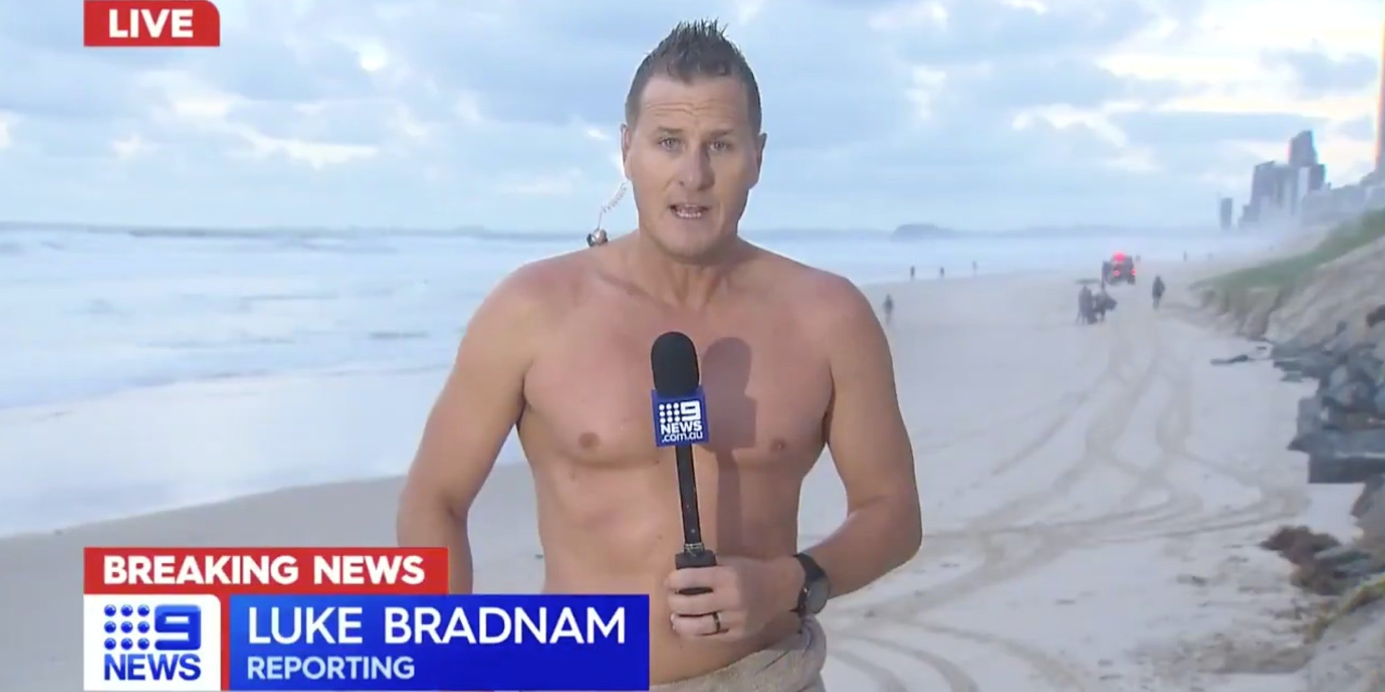 weatherman luke bradnam during live report