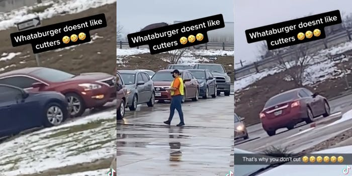 A driver cutting in line at Whataburger