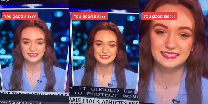 """you good sis???"" caption over young woman awkwardly smiling during tucker carlson interview"