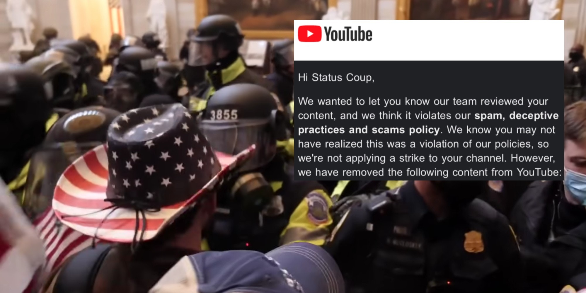 A YouTube email over rioters at the Capitol