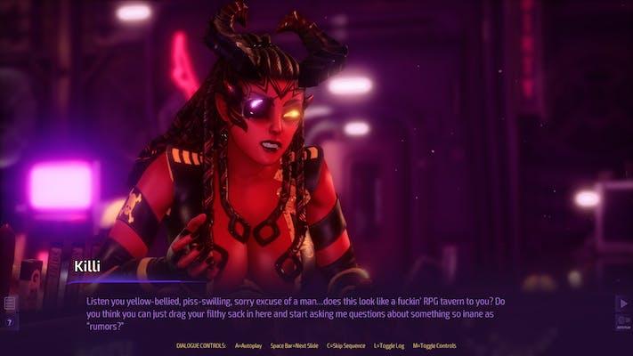 A dialogue segment depicting Killi from Subverse