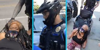 A woman in pain (L), an Austin police officer (C), and the woman being thrown from her wheelchair by the police officer (R).