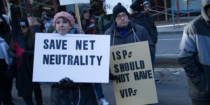 Net neutrality supporters protesting.