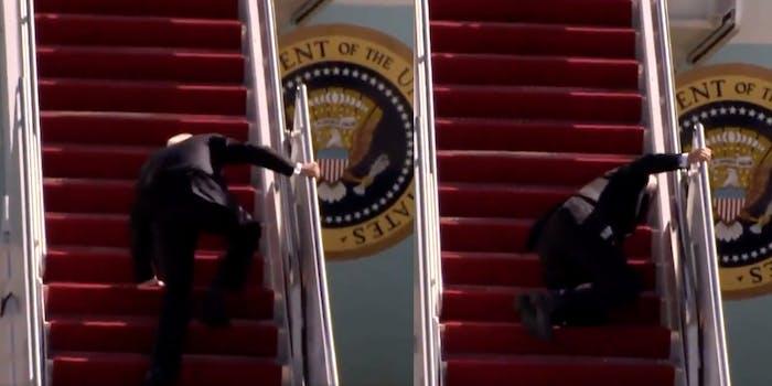 President Joe Biden falling while boarding Air Force One