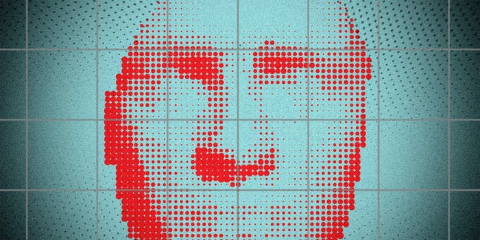 An illustration of a pixelated face, possibly being scanned through facial recognition..