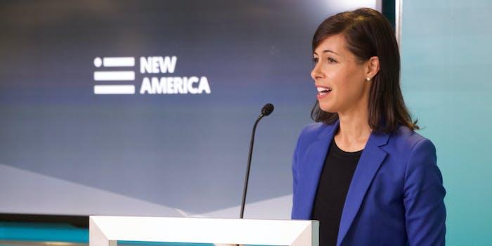 FCC Acting Chairwoman Jessica Rosenworcel speaking at a podium.