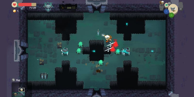 Moonlighter dungeon crawling segment showing its Legend of Zelda-inspired gameplay