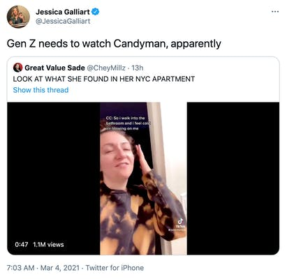 """""""Gen Z needs to watch Candyman, apparently"""" embedded tweet with the tiktok and caption """"look what she found in her apartment"""""""
