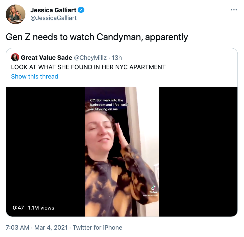 """Gen Z needs to watch Candyman, apparently"" embedded tweet with the tiktok and caption ""look what she found in her apartment"""
