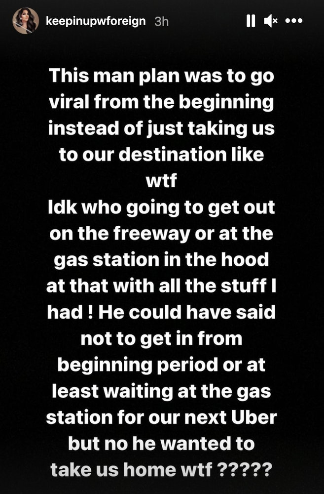 Instagram post about a bad Uber experience