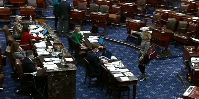 Sen. Kyrsten Sinema votes no to including a minimum wage increase in the coronavirus relief bill.