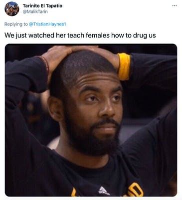 """""""We just watched her teach females how to drug us`' A Black man had his hands on the back of his head looking despairing"""