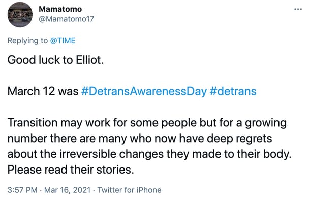 Good luck to Elliot.   March 12 was #DetransAwarenessDay #detrans   Transition may work for some people but for a growing number there are many who now have deep regrets about the irreversible changes they made to their body. Please read their stories.