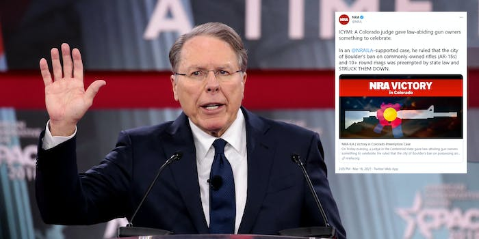 NRA CEO Wayne LaPierre next to a tweet the NRA sent out celebrating a Colorado judge blocking an assault weapons ban in Boulder, Colorado.