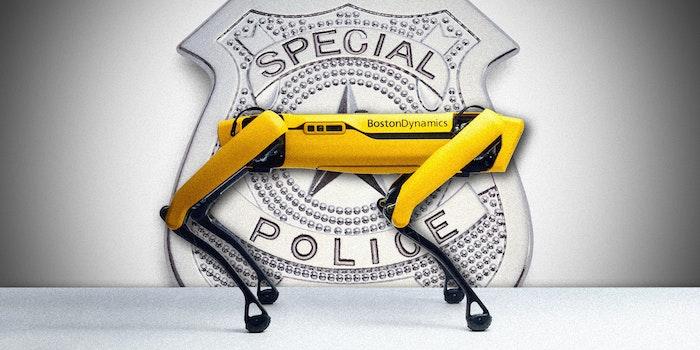 A robot police dog and police badge.