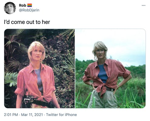 """""""I'd come out to her"""" two stills from Jurassic part, in both a blonde woman with a pink shirt tied over a blue undershirt. The first she stands in front of Jurassic plants and in the second in a field with her hands on her hips"""