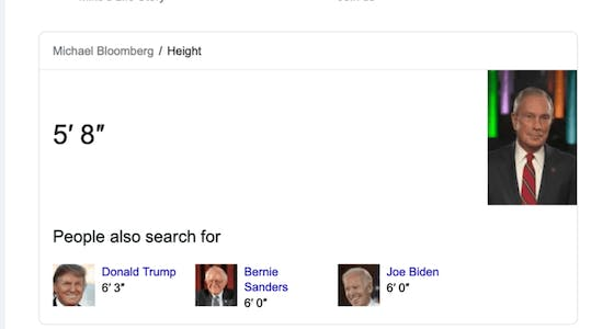 michael bloomberg height google results for how tall is michael bloomberg