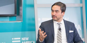 Tim Wu speaking at a conference in 2018.