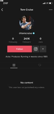 Tom Cruise's TikTok account showing his verified badge.