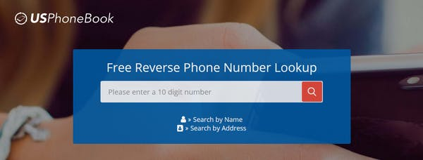 A screenshot of USPhoneBook, a reverse phone lookup website.