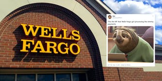 A picture of a Wells Fargo bank next to a tweet venting about the slowness of the bank processing coronavirus stimulus checks.