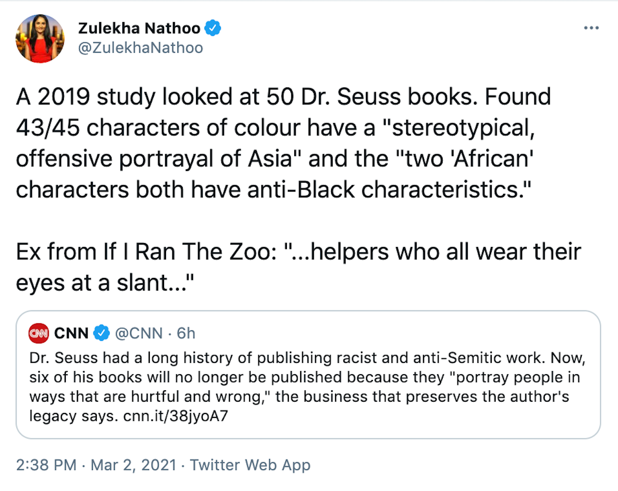 """A 2019 study looked at 50 Dr. Seuss books. Found 43/45 characters of colour have a """"stereotypical, offensive portrayal of Asia"""" and the """"two 'African' characters both have anti-Black characteristics."""" Ex from If I Ran The Zoo: """"...helpers who all wear their eyes at a slant..."""""""