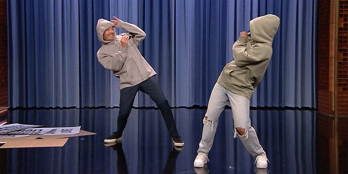 Jimmy Fallon and Addison Rae dancing on The Tonight Show.