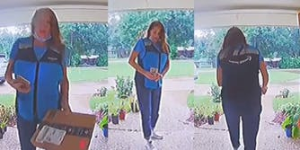 amazon delivery driver with package in hand, amazon deliver driver taking photo of package, amazon delivery driver walking away from front porch with package in hand