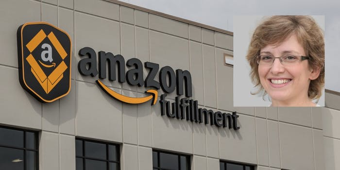 A potentially fake Amazon employee over a fulfillment center