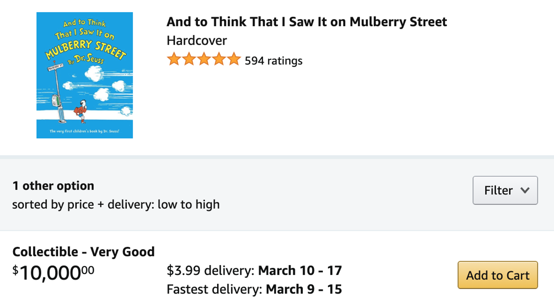 Screencap of an Amazon listing for And to Think That I Saw It on Mulberry Street for sale for $10,000