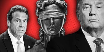 Illustration with Andrew Cuomo and Donald Trump with Lady Justice statue on a red background.