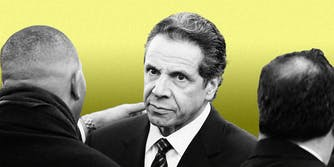 New York governor Andrew Cuomo on a yellow background.