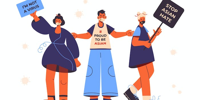 Stop Asian hate protest illustration