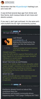"""Remember that the #SuperStraight hashtag is an anti-trans OP.  It was birthed several days ago from 4chan and Kiwi Farms, both noxious holes of anti-trans and disinfo content.  If you see it, don't get confused. It's the same anti-trans bullshit the far-right consistently pushes."" screenshot of a 4Chan post saying ""Making this thread before the other hits the bump limit GOAL > drive a wedge between trannies and other fag groups >redpill Zoomers >Use the left's tactics against themselves, call them bigots for not accepting super straights >Shitpost on social media >Hit mainstream status WHAT THE FUCK IS HAPPENING >Zoomer on TikTok makes a new sexuality known as super straight meaning one is only attracted to the biological sex, meaning no trannies >countering the tranny logic that troons are ""real women"" WHAT DO I DO >spam this shit all over, make memes, retweet SS agents on Twitter, post on every site imaginable"