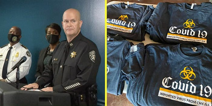 A police officer at a podium (L) and a pile of t-shirts (R).