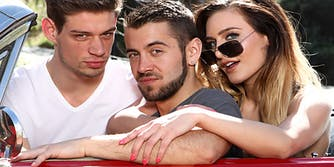 """Scene from BiPhoria's """"Naughty Bi Nature"""" featuring Ella Reese, Dante Colle, and Michael DelRay."""