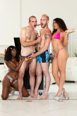 "Scene from ""We're Gonna Swing Bi"" a BiPhoria original featuring Daizy Cooper, Victoria Voxxx, Jonah Marx, and Wolf Hudson."
