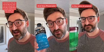 man mixing mountain dew with blue powerade