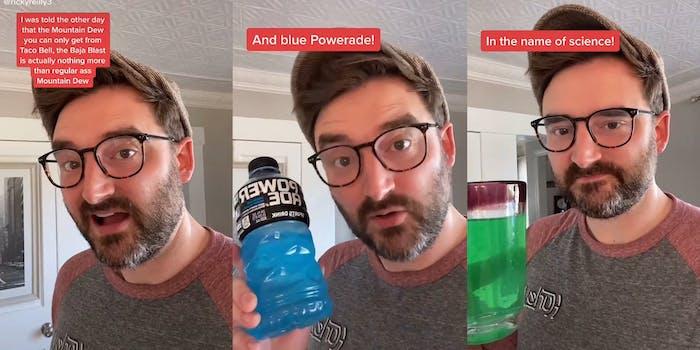 man mixing mountain dew with blue powerade