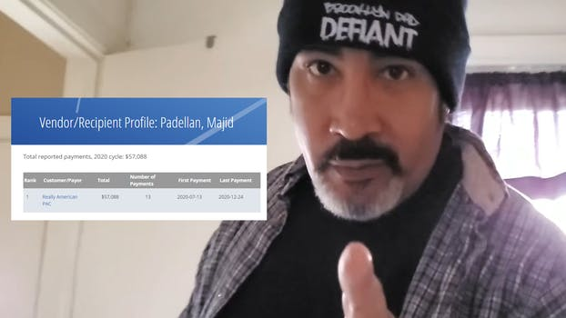 man wearing Brooklyn Dad Defiant beanie pointing to camera, with Vendor/Recipient Profile indicating payment by the Really American PAC for $57,088 in 2020