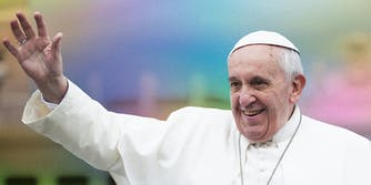 Pope Francis waving.